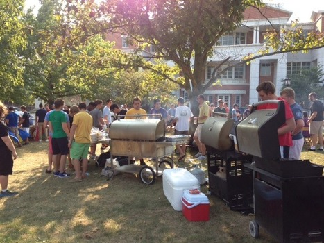 Members of the IFC Community gather in Bowman Park for the 2013 All-Fraternity Barbecue