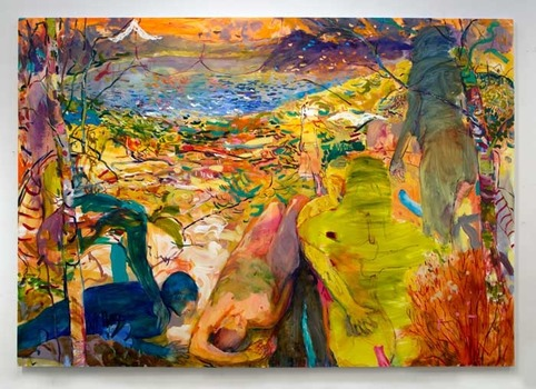 "Milk & Honey Town 2013 oil on canvas 84"" x 120"""