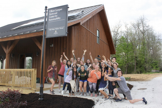 Students in front of the Ullem Center For Sustainability