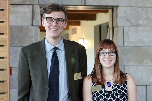 Graduate Fellow Conner Gordon with Hillman Intern Amy Brown. Conner is the managing editor and Amy is the assistant editor of The Prindle Post
