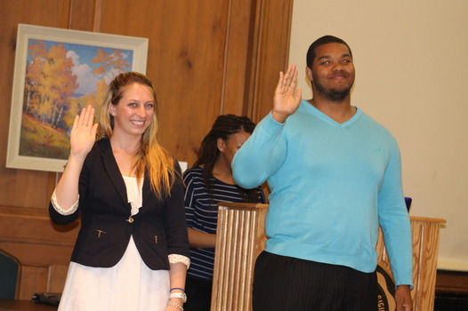 Student Body President and Vice President being sworn into their positions.