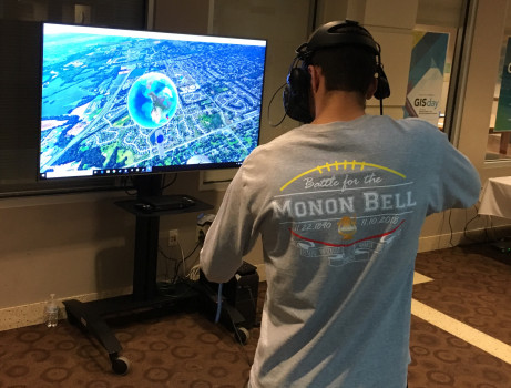 A student using VR equipment to explore Google Earth