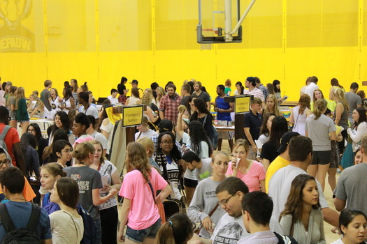 Distanced view of students gathered at a student organization event