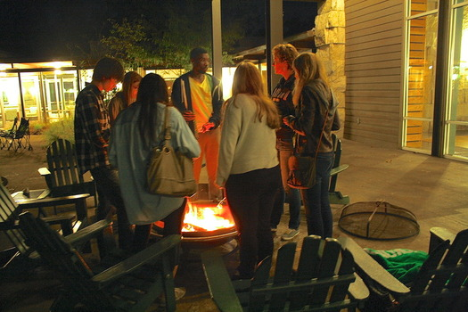 "Students gather for discussion and s'mores after the screening of the 2013 documentary ""Dirty Wars"""