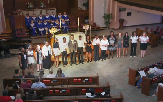 Exalt! Gospel Choir performs at the Family Weekend Service