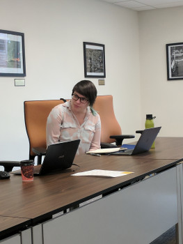 Workshop creator Emily McWilliams participating in a discussion at the Prindle Institute