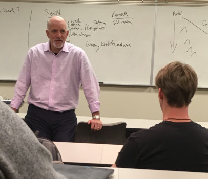 Jeff Harmening '89, CEO at General Mills, working with students during the Management Fellows senior capstone course.