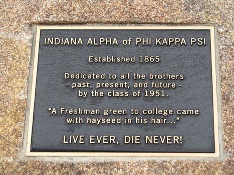 Indiana Alpha of PHI Kappa PSI plaque