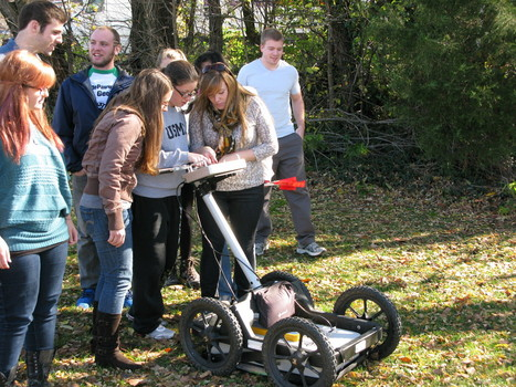 Environmental Geophysics students gathering subsurface data using a Ground-Pentrating Radar unit (thanks to Ashtead Technology-Indianapolis for loaning us this unit).