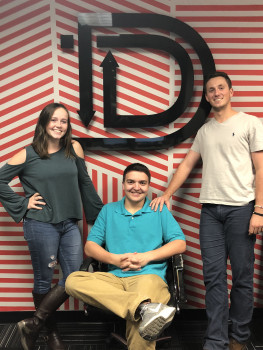 Sarah Roth '19, Aaron Miller '19 and Robbie Meucci '19 at DoubleMap for their semester long internship.