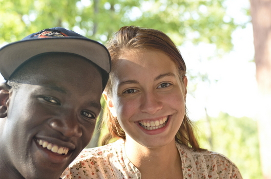 Two International students smiling