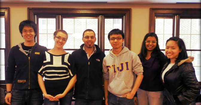 International Student Association 2012-2013 executive board members Yuki Nakano, Oksana Polhuy, Tao Qian, Meghali Deshmukh and Hien Nguyen, with organization advisor Loutfi Jirari