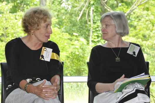 Janet Prindle (left) on a panel with Professor of English Martha Rainbolt (right)