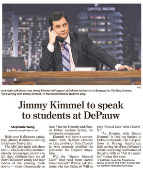 The Indianapolis Star noted Jimmy Kimmel's planned DePauw visit.