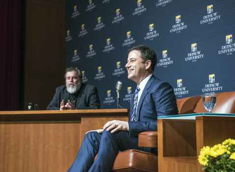 Jimmy Kimmel engaged in conversation with Prof. Tom Chiarella on November 8, 2014.