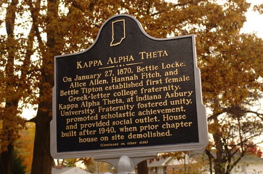 Indiana Historical Marker at the Kappa Alpha Theta Chapter House | Detail of the front of the marker