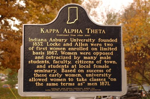 Indiana Historical Marker at the Kappa Alpha Theta Chapter House | Detail of the back of the marker
