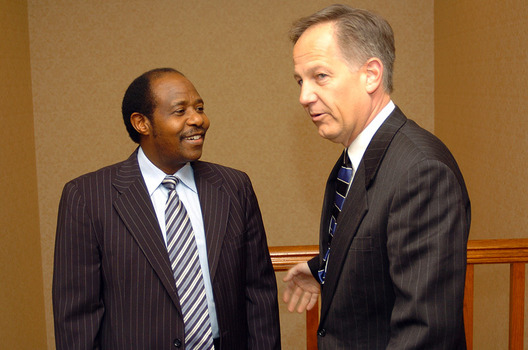 2005 visitor Paul Rusesabagina chats with Ken Owen before an Ubben Lecture.