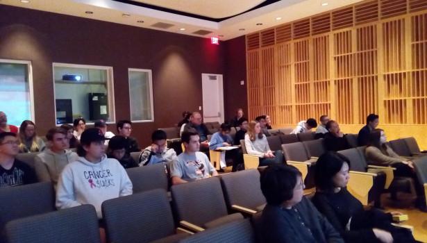 Students attend Dr. Kerkes talk in Peeler Auditorium.