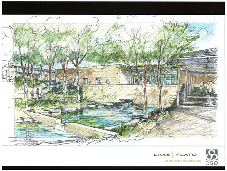 Initial sketch of the Institute by Lake Flato Architects