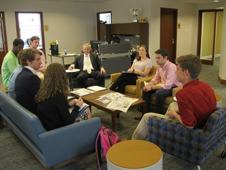 Management Fellow students interacting with Lee C. Weingart '88, Founder and President of LNE Group.