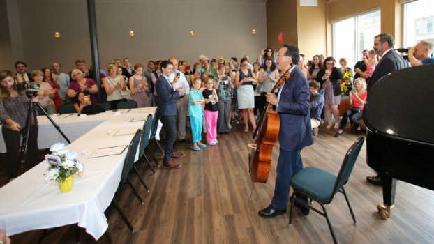 Yo-Yo Ma at the ribbon cutting of Music on the Square - June 2015