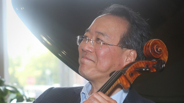 Yo-Yo Ma plays at the ribbon cutting of Music on the Square