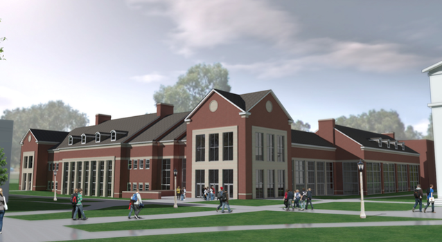 Proposed exterior view of a renovated and expanded Lilly Center.