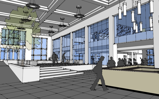 A rendering of the proposed lobby for the Lilly Center.