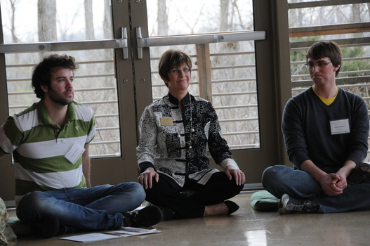 Linda (center) with Robert Zilinyi (Skidmore College, left) and Justin Baker (Loyola University, right) during 2011 Undergraduate Ethics Symposium