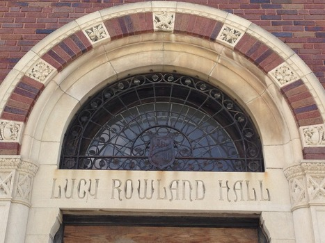 Details from the front entrance of Lucy Rowland Hall