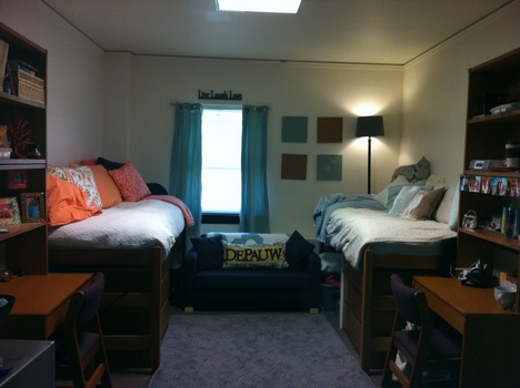 A student room in Lucy Rowland Hall.