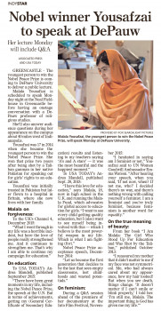 The Sept. 3, 2017 Indy Star previewed the Ubben Lecture by Malala.