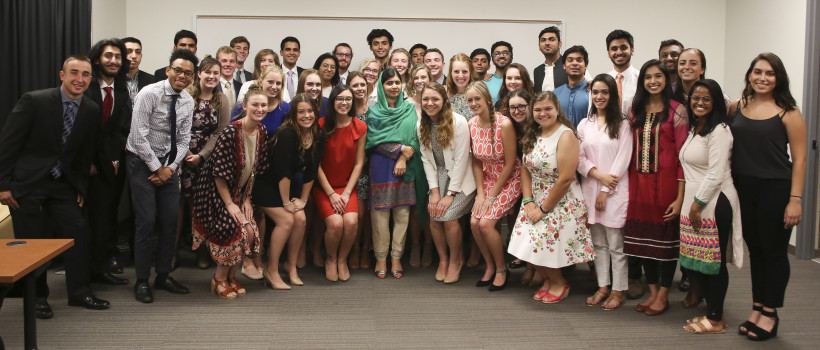 Malala Yousafzai with DePauw students; Sept. 4, 2017