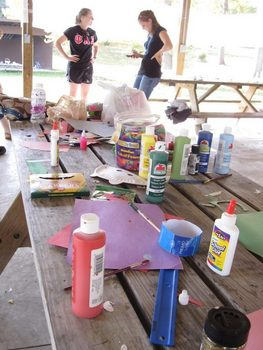 Supplies for mask/card-making station, Karnival for Kids, Fall 2011