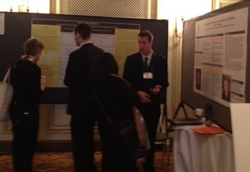 Daniel Allen '12 and Matt Kukurugya '13 at the undergraduate poster session of the MPSA