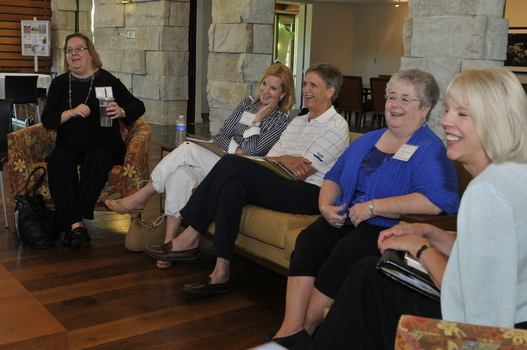 """Living with Joy"" participants enjoy a good laugh during a session in Prindle's  Great Hall."