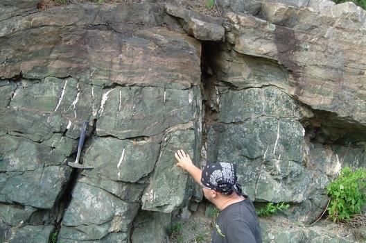 Chris Myrvold '06 studying veins at a Bancroft, Canada outcrop.