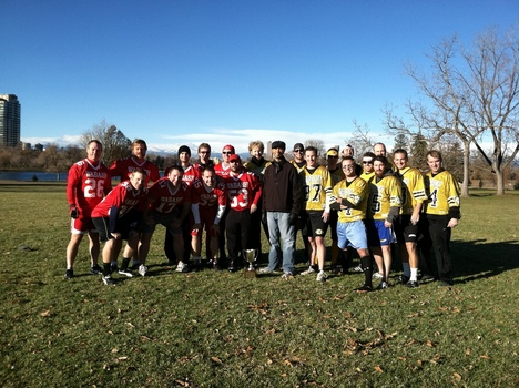 Denver alumni are all smiles before a friendly flag football game Monon Weekend. For the record, DePauw won!