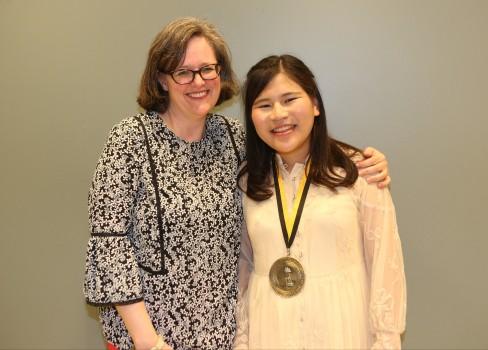 Midori Kawaue '17 with VP Anne Harris