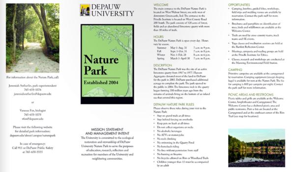Nature park trail guide brochure