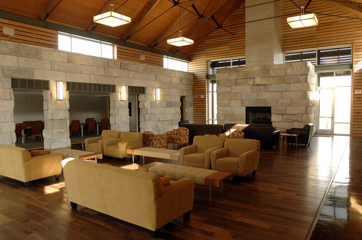 The Great Room showcases locally quarried limestone which reduces the amount of energy required for transportation