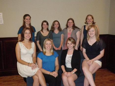 Members on campus, Fall 2011: Back row L to R: Katie Pfaff, Taylor McGarrah, Katelyn Hayes, Anna Allen, Jenny Wilson. Front Row L to R: Rachel Jewell, Amanda Brinkman, Anne Hickey, Leenie Muir