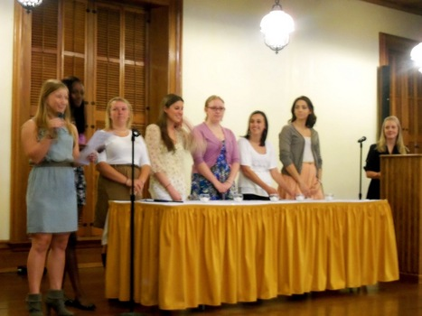 The 2012-2013 Executive Council conduct Panhellenic Initiation for the newest members of our community.
