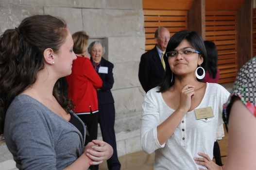 Nicki Hewell '11 (left) and Paromita Sen '12 (right) at the 2012 Undergraduate Ethics Symposium