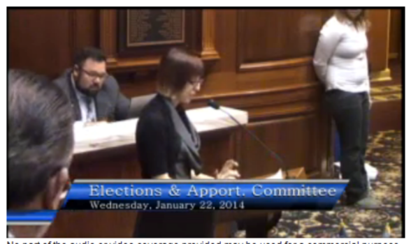 Amy testifies in the Elections and Apportionment Indiana House Committee against HJR-3.
