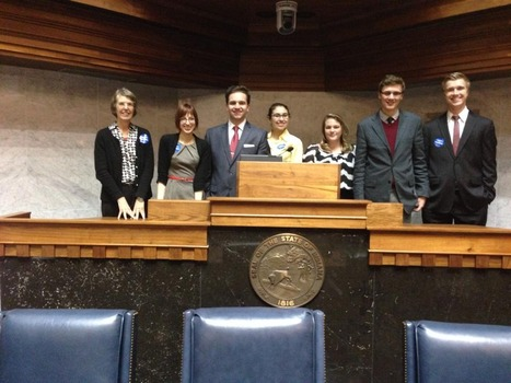 Amy and her Winter Term class in the Indiana State Senate Chamber.