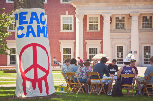 "Each fall, Compton Center puts on a week of social justice programs and camps outside of the Roy O. West Library in an event known as ""Peace Camp"". Check out the full article here: http://www.depauw.edu/news-media/latest-news/details/27682/"