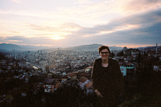 Conner in Sarajevo, Bosnia and Herzegovina, one of three cities where he studied conflict and memory studies in 2015.