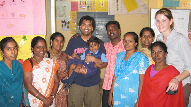 Kartik embracing his last day working at the HOPE Foundation School in Chennai, India after being thrown a surprise party by students and fellow teachers